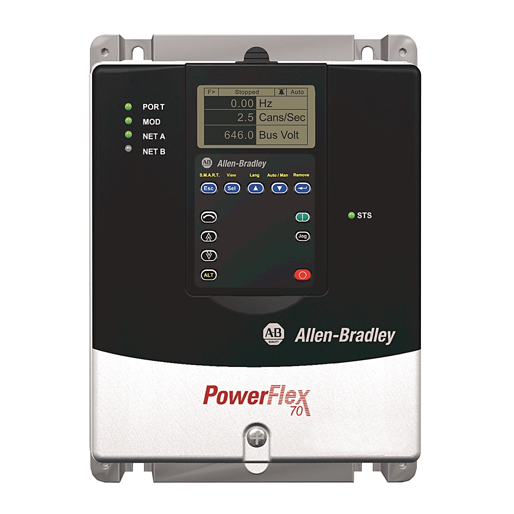 20AD8P0A0AYNNNC0 AB POWERFLEX 70 480V 3PHASE 8AMP 5HP NORMAL DUTY IP20  PANEL MOUNT NEMA1 NO HIM W/O BRAKE RESISTOR ENHANCED CONTROL